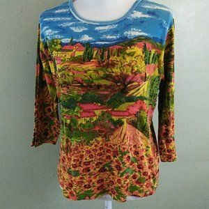 ARTSCAPES Tuscany Scene Print 100% Cotton Knit Top